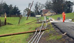Downed power lines after storm